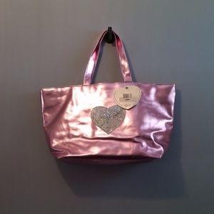 Pink Metallic Totebag Silver Sequin Heart Appliqué